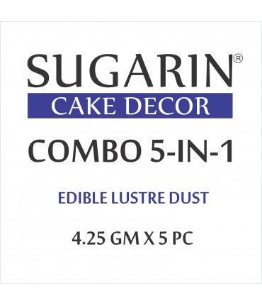 Sugarin Combo Edible Lustre Dust, 4.25gm X 5 pcs.