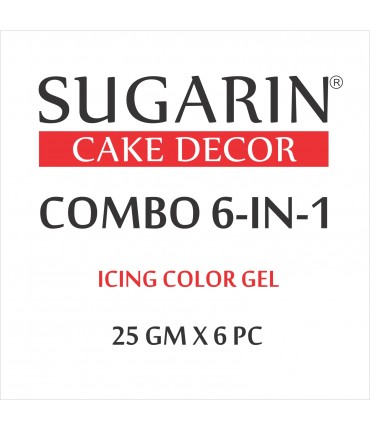Sugarin Combo Icing Color Gel, 25gm X 6 pcs.